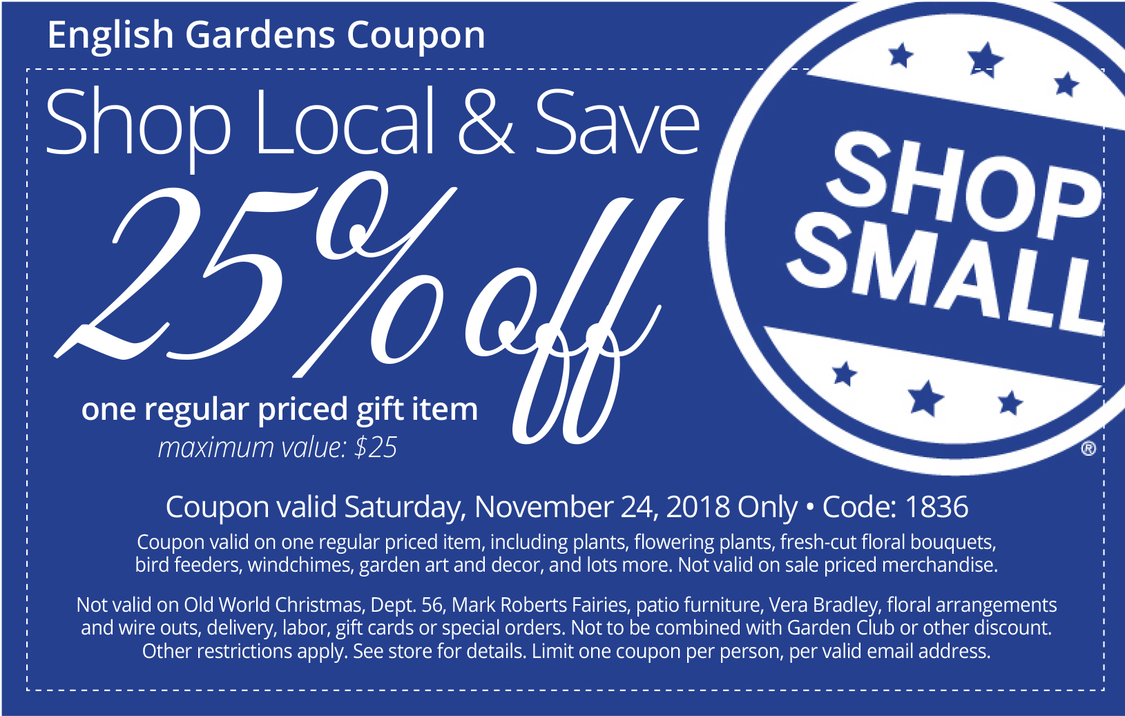 Small Business Saturday coupon