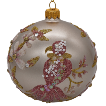 Gold with Pink and Lavender Glitter Floral Christmas Ornament