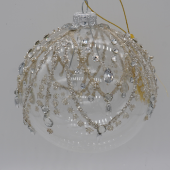 Gold and Silver Transparent Glitter Christmas Ornament