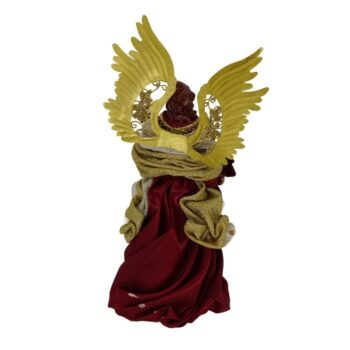 Burgundy and Gold Angel Christmas Figure, 10 inches tall