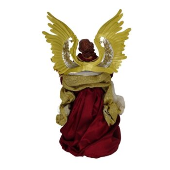 Burgundy and Gold Angel Christmas Figure, 14 inches tall