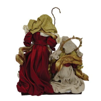 Holy Family Nativity Scene in Burgundy and Gold
