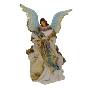 Beige and Blue Angel Christmas Figure, 10 inches tall