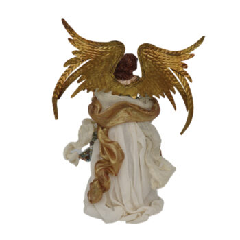 Christmas Angel Figurine with Beige and Blue Gown