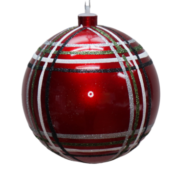 Red Plaid Collection Shatter Resistant Round Ornament, 6 inch
