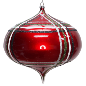 Red Plaid Collection Shatter Resistant Onion Ornament, 7 inch