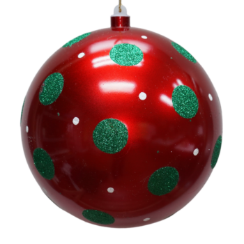 Red, White and Green Polka Dot Shatter Resistant Ornament, 9 inch
