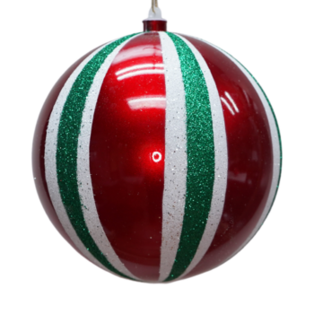 Red, White and Green Stripe Shatter Resistant Ornament, 9 inch