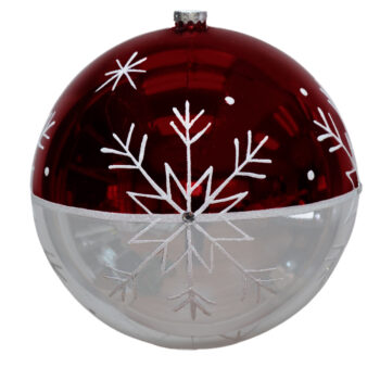 Snowflake Collection Shiny Red and Silver Shatter Resistant Ornament, 9 inch