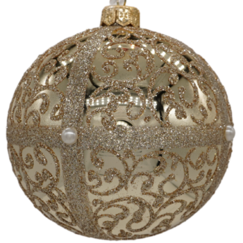 Champagne and Gold Glitter Embellished Christmas Ornament