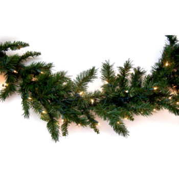 9-foot Fir Artificial Christmas Garland Pre-lit with Sure Lit Incandescent Lights