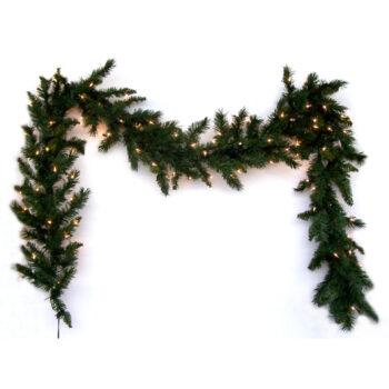 9-foot Fir Artificial Christmas Garland Pre-lit with Sure Lit Incandescent Lights