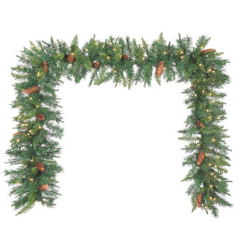 9-foot Corliss Fir Artificial Christmas Garland Pre-lit with Sure Lit Incandescent Lights