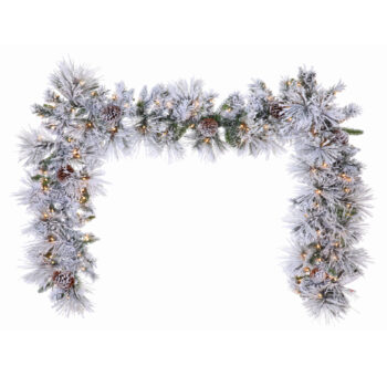 9-foot Long-needle Flocked Artificial Christmas Garland Pre-lit with 100 Clear Sure Lit Incandescent Lights