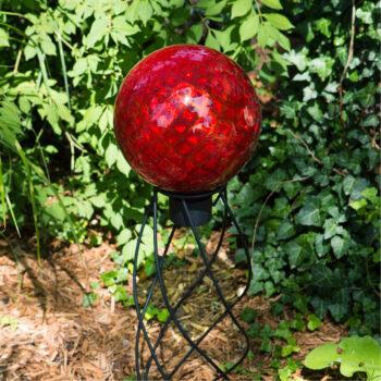 Red Diamond Embossed Gazing Globe, 10 inch