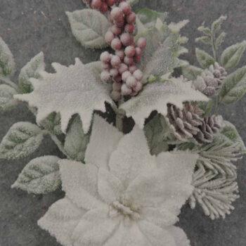 Flocked Mixed Foliage Poinsettia