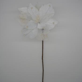 Ivory and Sheer Glitter Poinsettia