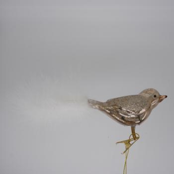 Gold Glitter Bird Christmas Ornament