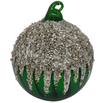 Green and Silver Glitter Christmas Ornament