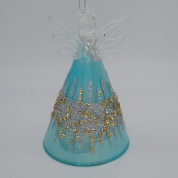 Blue and Gold Glitter Angel Christmas Ornament