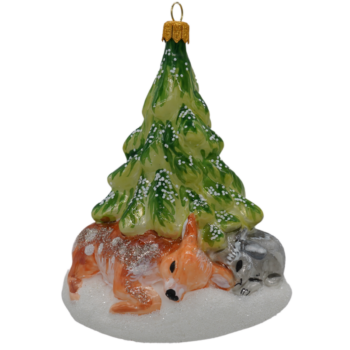 Deer and Rabbit Under Tree Christmas Ornament