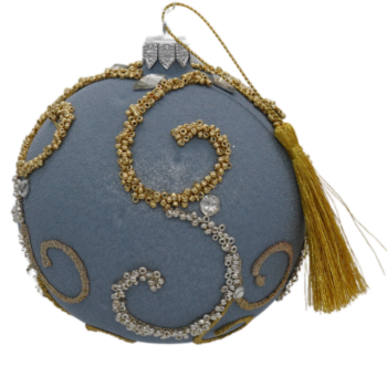 Blue and Champagne Glitter Christmas Ornament