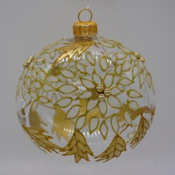 Gold Beaded Transparent Christmas Ornament