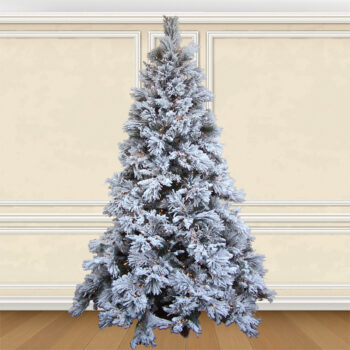 7.5-foot Flocked Long Needle Pine Artifical Christmas Tree Pre-lit with 900 Clear Sure Lit Ligths