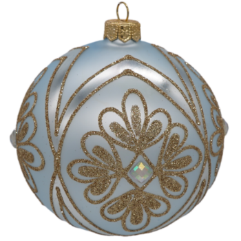 Blue and Gold Glitter Glitter Embellished Christmas Ornament