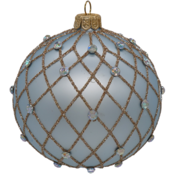 Blue and Gold Glitter Harlequin Rhinestone Christmas Ornament