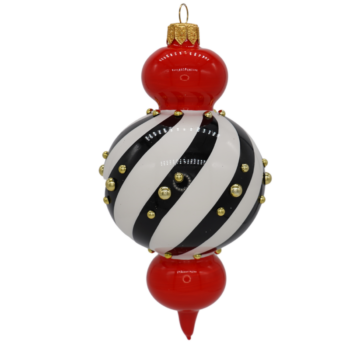 Black and White Swirl Embellished Christmas Ornament