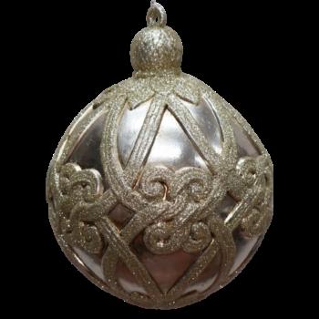 Champagne Filigree Shatter Resistant Ornament, 8 inch