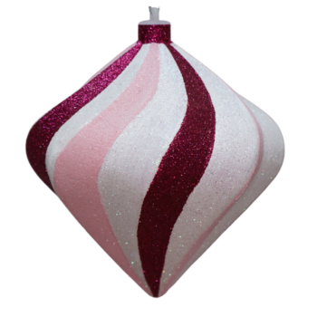 Fuchsia, Pink and White Shatter Resistant Spiral Onion Ornament, 8 inch