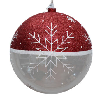 Snowflake Collection Glittered Red and Shiny Silver Shatter Resistant Ornament, 9 inch