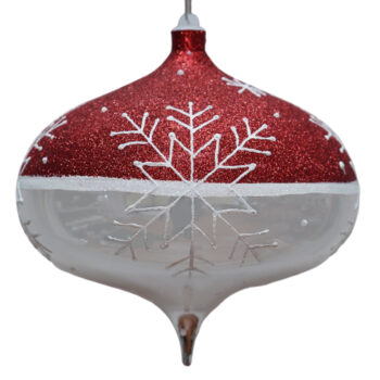 Snowflake Collection Glittered Red and Shiny Silver Shatter Resistant Onion Ornament, 9 inch