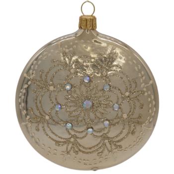 Gold Medallion Glitter Rhinestone Christmas Ornament