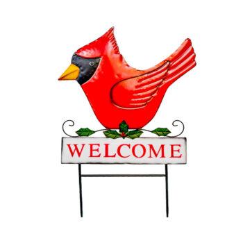 Welcome Cardinal Yard Stake