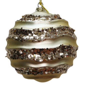 Champagne Wave Glitter Shatter Resistant Ornament, 4 inch