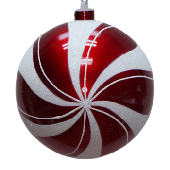 Red and White Peppermint Swirl Shatter Resistant Ornament, 6 inch