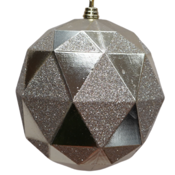 Champagne Geometric Glittered Shatter Resistant Ornament, 7 inch