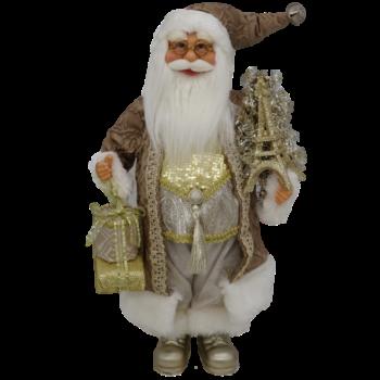 Silver and Gold Santa Christmas Figure