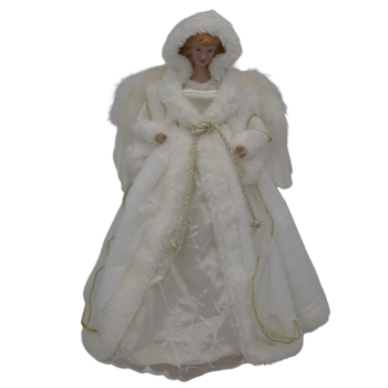 Gold and White Tree Top Angel Christmas Figure