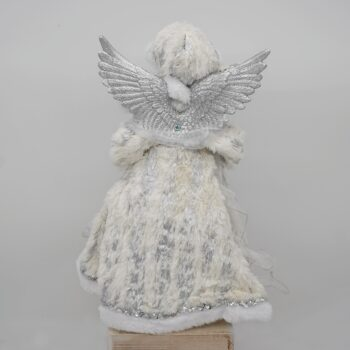 Pewter and White Tree Top Angel Christmas Figure
