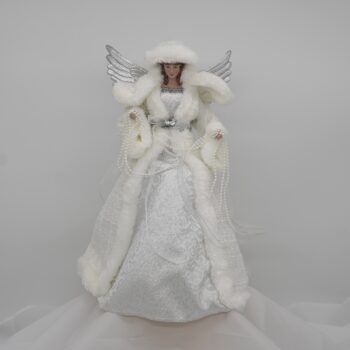 Silver and White Tree Top Angel Christmas Figure