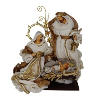 Beige and Antique Gold Holy Family, 14 inches tall