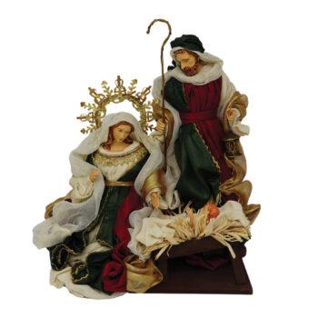 Holy Family Nativity Scene in Burgundy and Green
