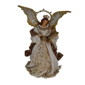 Beige and Antique Gold Angel Christmas Figure, 14 inches tall