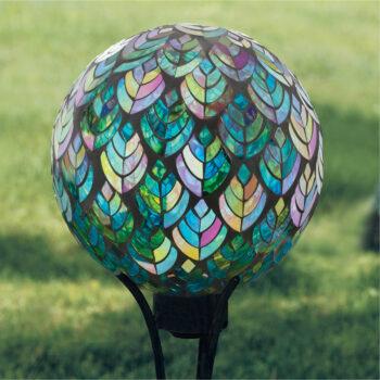 Peacock Feather Mosaic Gazing Globe, 10 inch