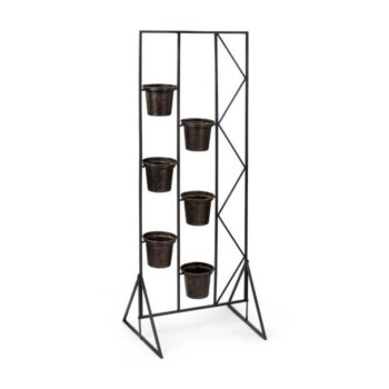 Antique Gold Wall of Pots Stand, 19 x 50 inch