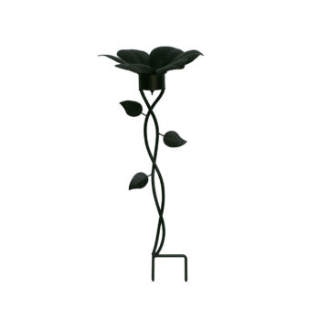 Black Flower Gazing Globe Stand, 10 inches tall
